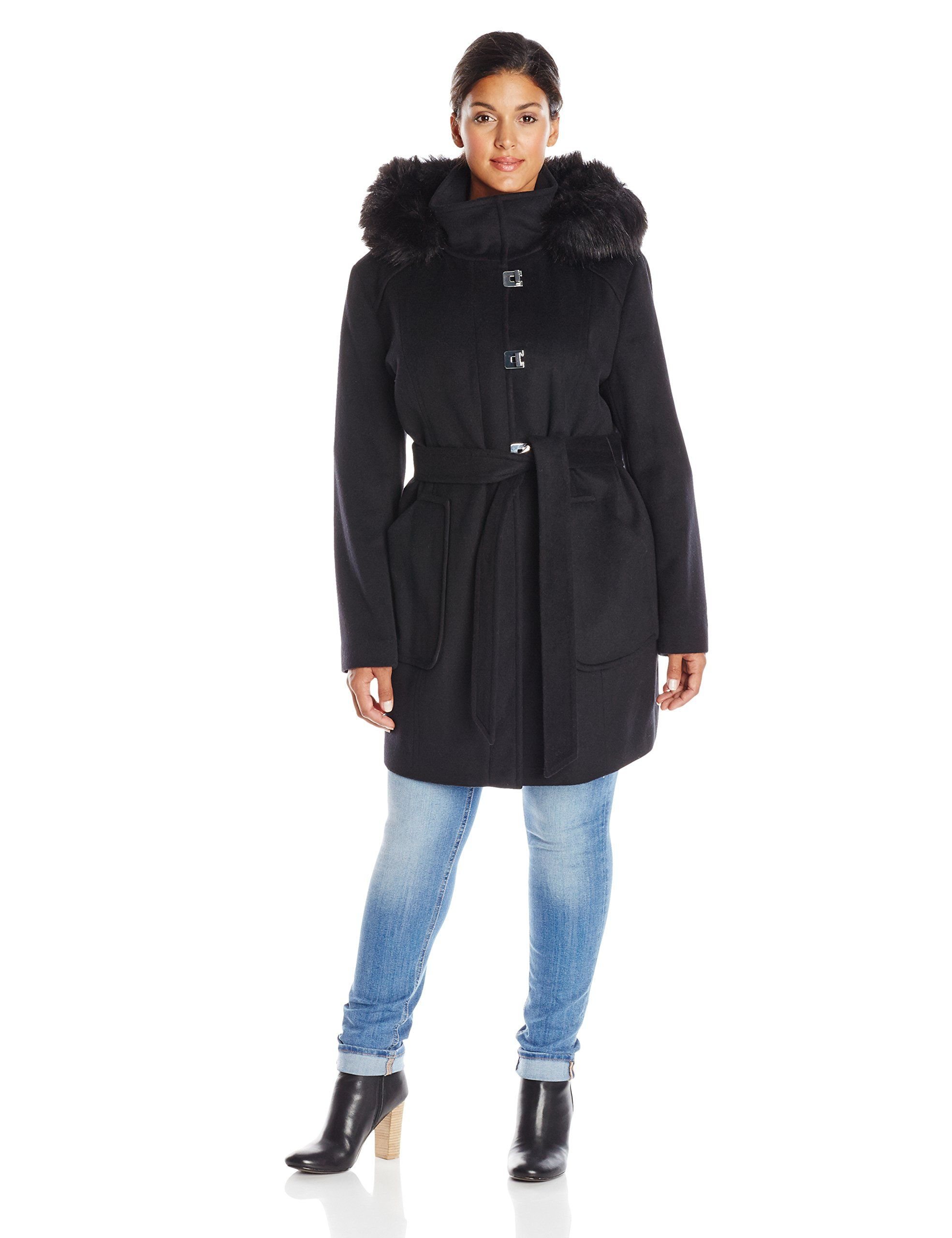 0811dd5cd23 Calvin Klein Women s Plus-Size Lux Wool Coat with Faux Fur Trim at Amazon Women s  Clothing store