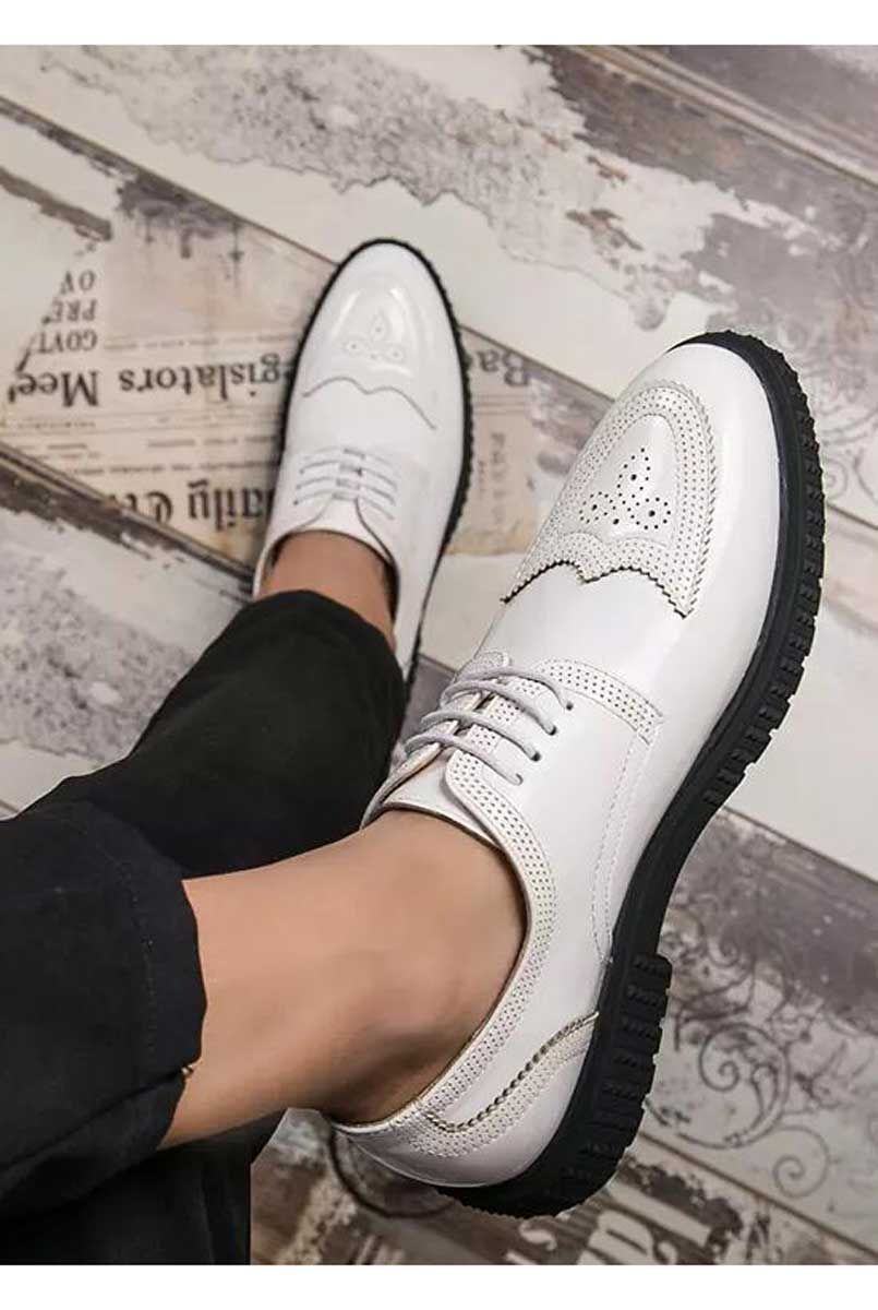 White brogue patent leather derby dress shoe is part of Shoes - Buy mens white derby leather dress shoes online, Free shipping US, UK, CA, Europe, International   ShoeEver com 1630MS