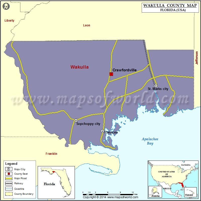 Map Of Florida Usa.Wakulla County Map Usa States County Maps Pinterest County Map