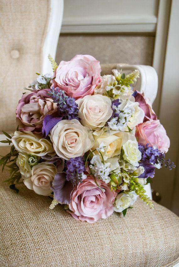 Pastel Wedding Bouquet Pink Ivory And Purple Silk Wedding