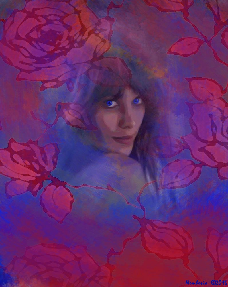 ROSES ET ROSES...digital work by Nemhesia. #nemhesia #digital #art #painting #photoshop #woman #girl #fairy #nymph #dryad #roses #flowers #nature #modern #landscape #portrait #red #blue