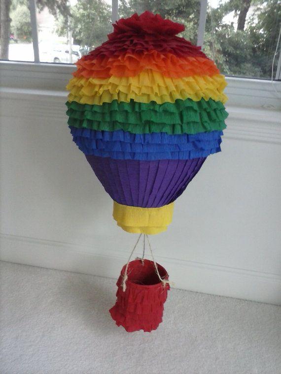 Hot Air Balloon Rainbow Party Pinata, Rainbow Pinata