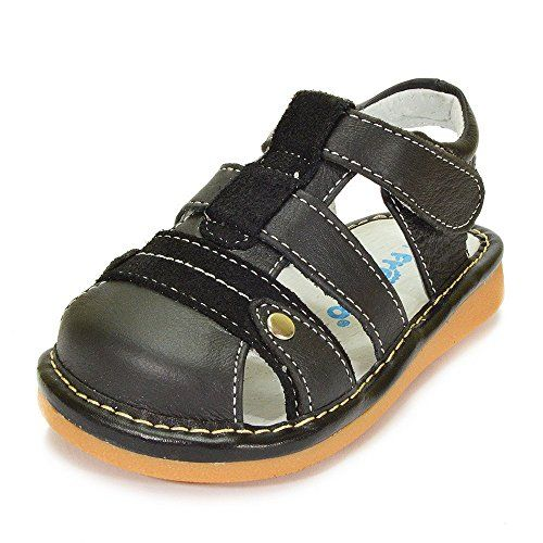 HLT Toddler//Little Kid Boy Suede Copper Button Squeaky Sandal