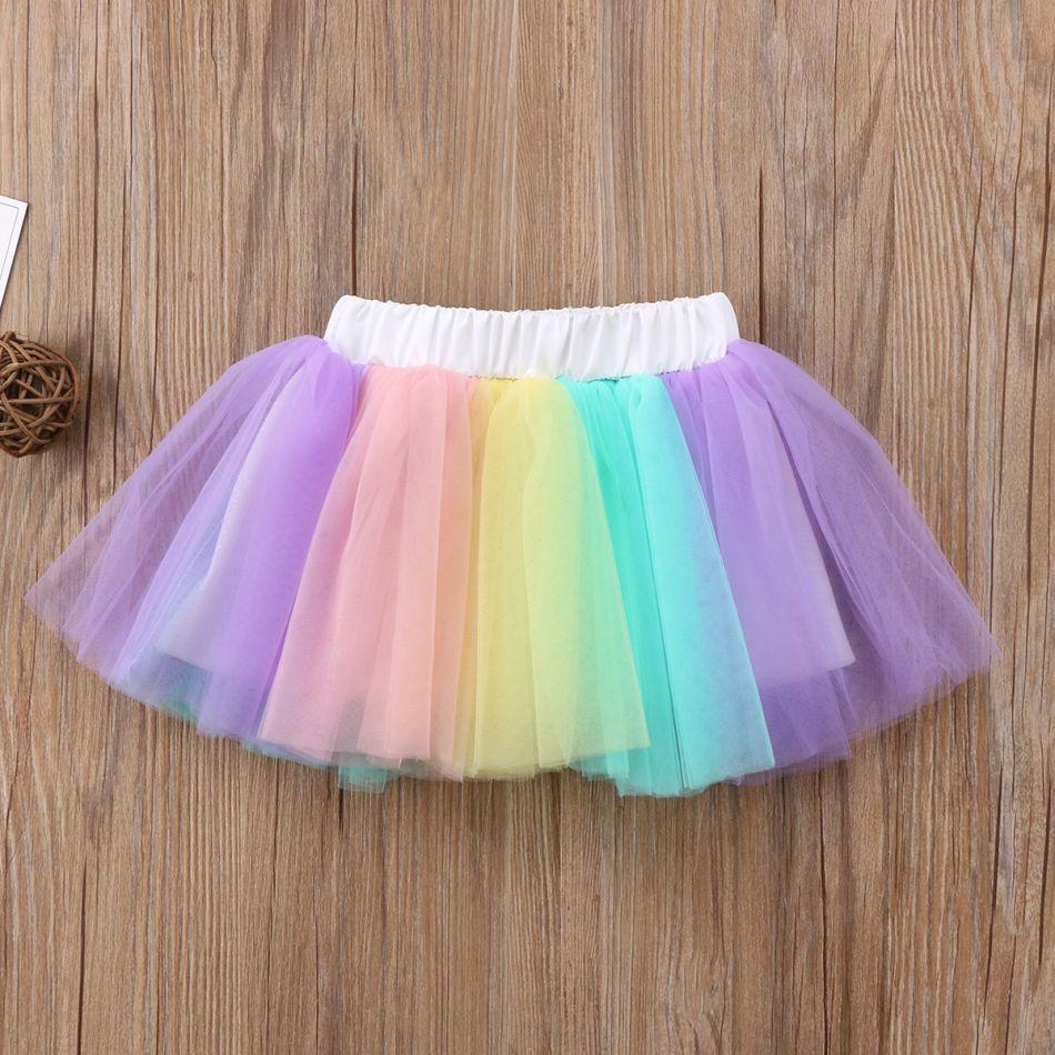Girls Unicorn Tutu Skirt Rainbow Multi Coloured Age 1-10 Years