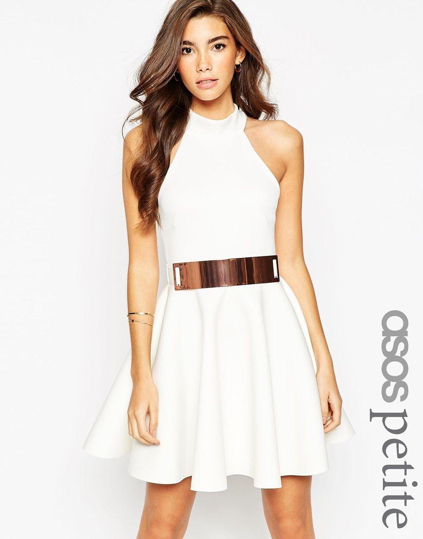 ASOS PETITE High Neck Bonded Mini Dress With Belt