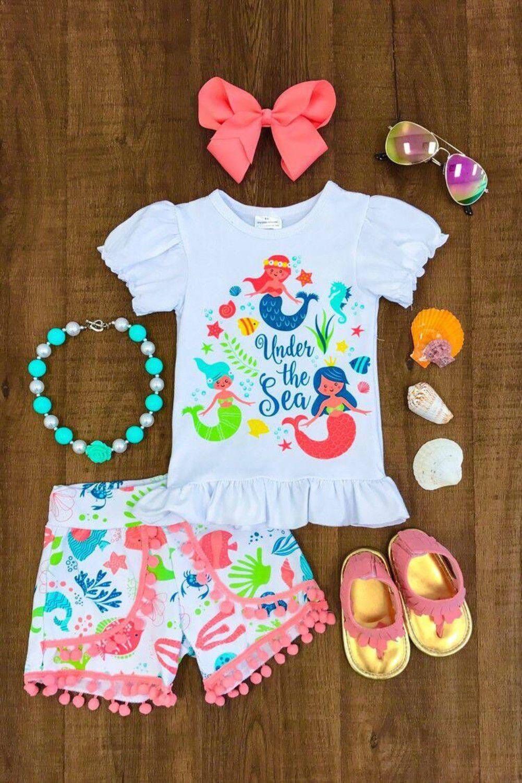 0481da58aea2 $6.69 - Nwt Kids Baby Girls Mermaid Cartoon Top T-Shirt Shorts Clothes  Outfit Summer Abi #ebay #Fashion