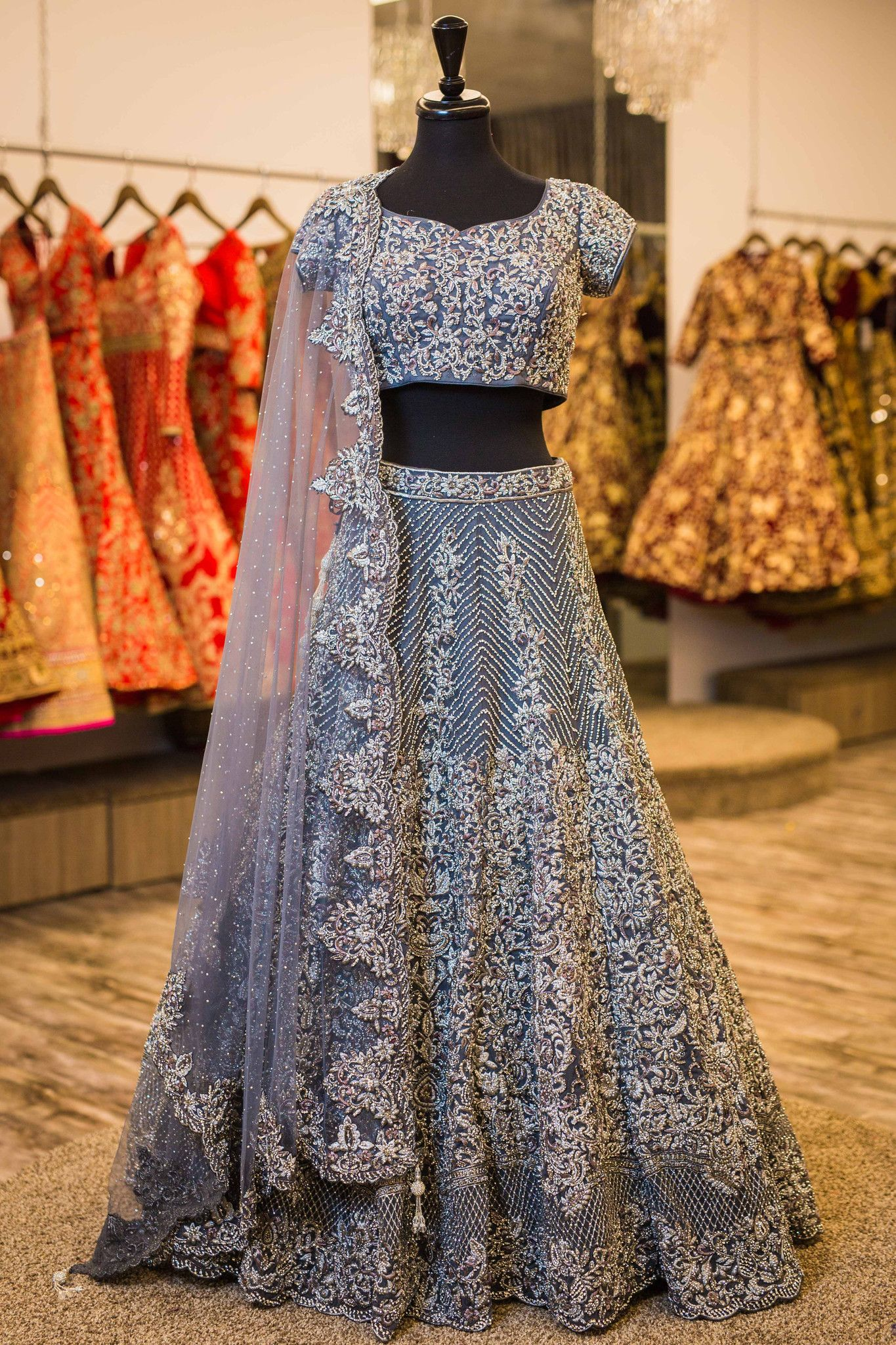 b51c27aef5 Grey reception lengha.With silver crystal and baroque embroidery ...