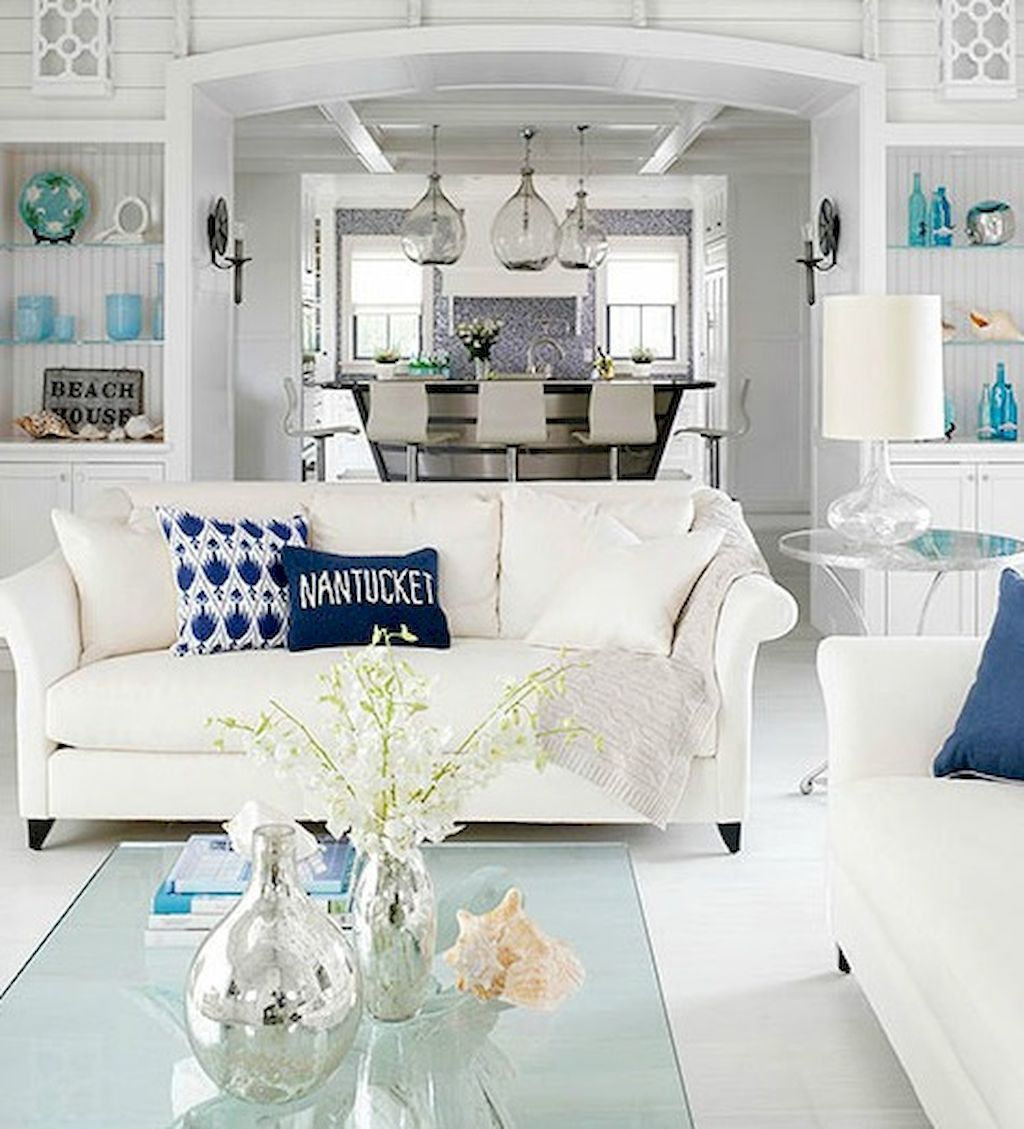 Beach Home Interior Design Ideas: 70 Cool And Clean Coastal Living Room Decorating Ideas (50