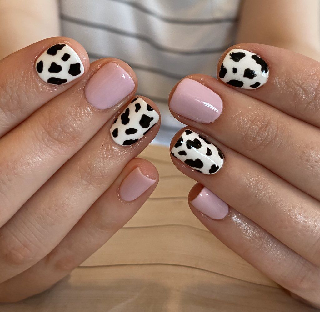 Cow Print Nails In 2020 Cute Gel Nails Hippie Nails Cow Nails