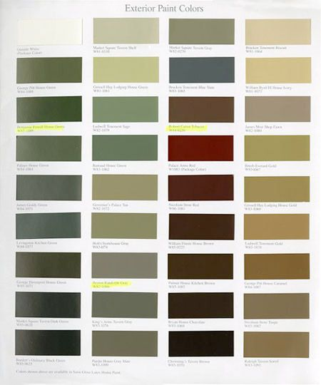 Williamsburg paint colors martin senour paints for Colonial exterior paint colors