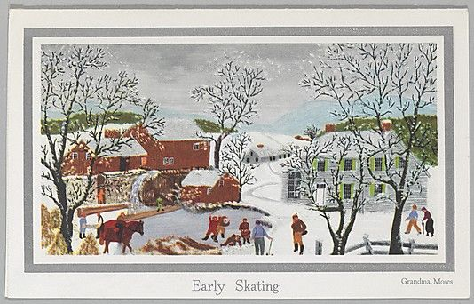 After Grandma Moses (American, 1860–1961). Early Skating, 1950s. The Metropolitan Museum of Art, New York. The Jefferson R. Burdick Collection, Gift of Jefferson R. Burdick (Burdick 571, p.6r(1)) #olympics #iceskating