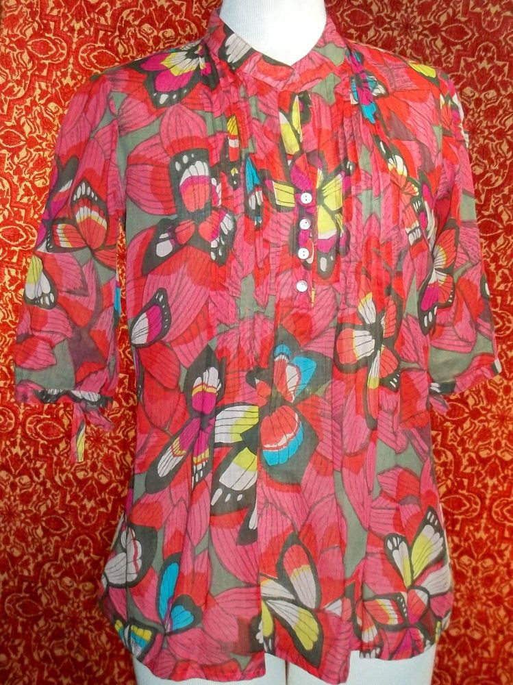 FUNKY PEOPLE fuchsia butterfly cotton 3/4 sleeve boho tunic blouse S (T11-02I6G) #FUNKYPEOPLE #Blouse #Casual