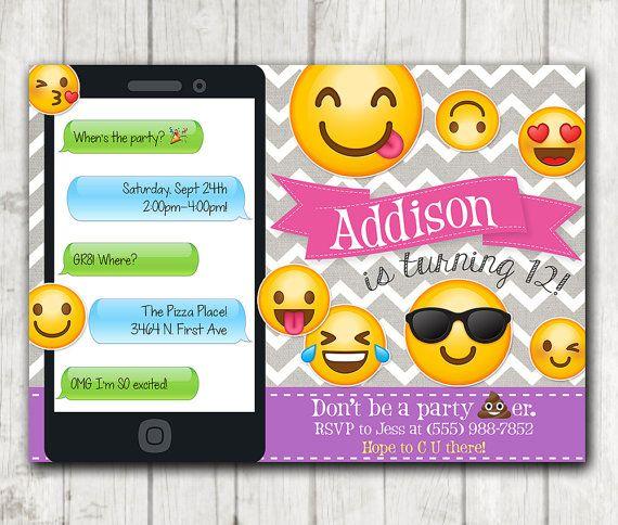 Printable Emoji Birthday Party Invitation, Emoji invitations, Chevron Smiley Face Birthday