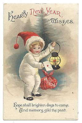 clapsaddle child in white w letter lantern hearty new year wishes 1255 iapco