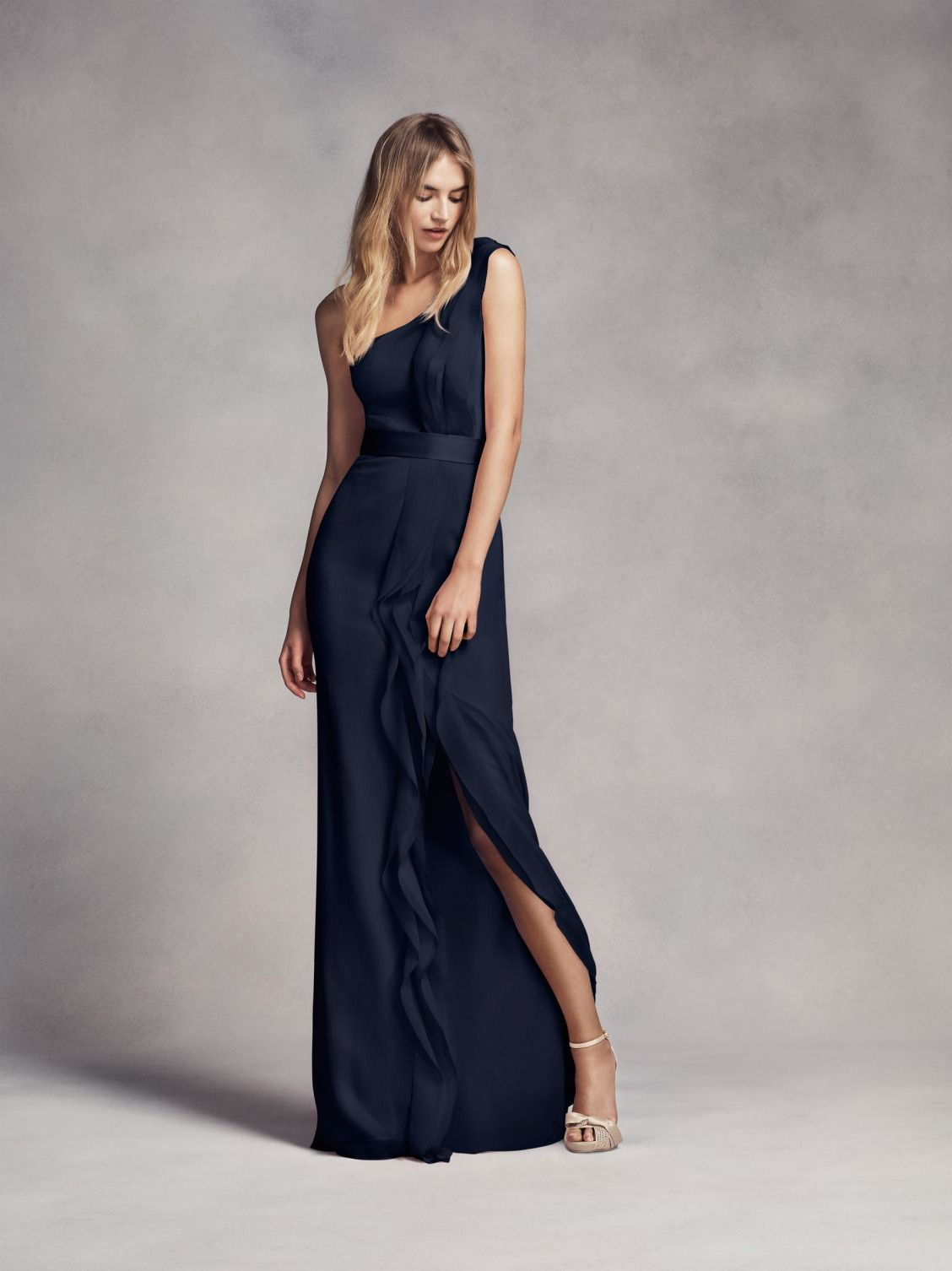 A crowd favorite, this one shoulder ruffle detail bridesmaid dress ...