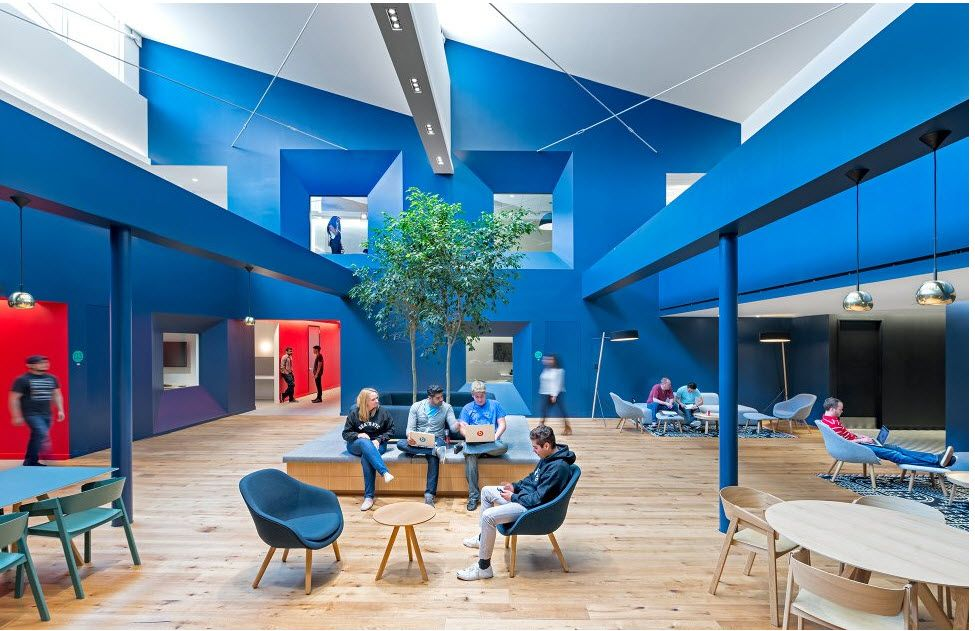 Modern Contemporary Mixed Office Space With Blue And Red Accents Modern Office Design Interior Architecture Interior Architecture Design