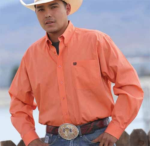 This Cinch Western Shirt features a coral fine dot print. Made ...