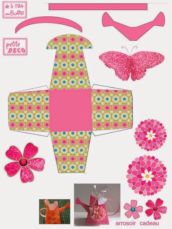 Caja regadera con flores para imprimir gratis ideas y for Empaque de regadera