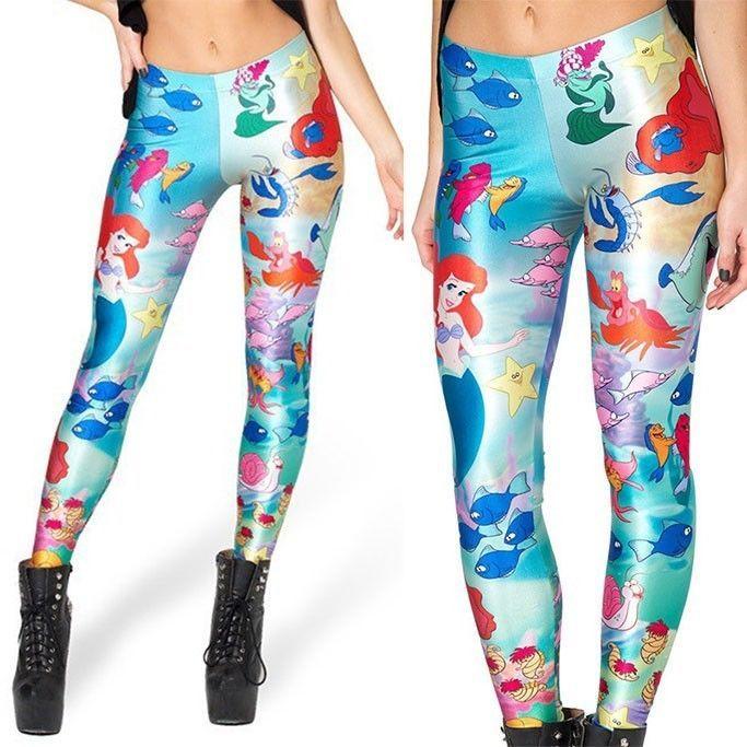 01faf922df36e3 Little Mermaid Polyester Spandex Yoga Pants/Leggings Osfm Adults ...