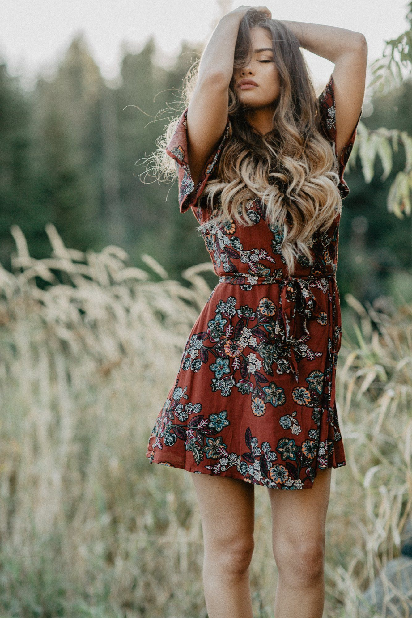 Red Floral Dress  PNW Style  Idaho  Rayla Kay Photography