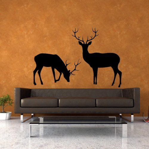 Deer Scene, Animals, Group, Many, Decal, Vinyl, Sticker, Wall