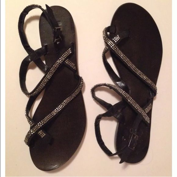 MIA Sz 10 Black Silver Gem Stone Leather Sandal From brand M.I.A. Sz 10 Leather black sandals with silver stones for decoration  Cute simple shoe  Comes without box. Worn once MIA Shoes Sandals