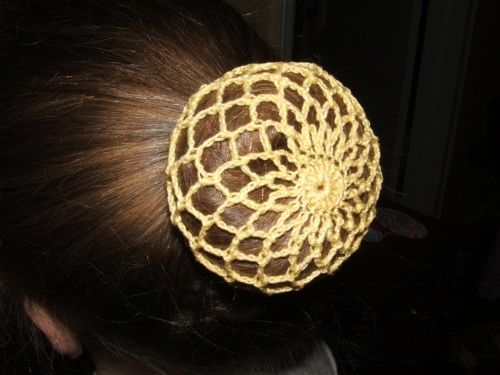 Yellow Crochet Ballet Snood Hair Bun Cover Mountainberrystudio