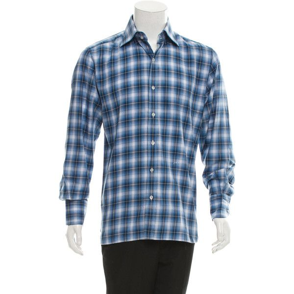 Pre-owned Tom Ford Plaid Button-Up Shirt ($145) ❤ liked on Polyvore featuring men's fashion, men's clothing, men's shirts, men's casual shirts, blue, mens casual button up shirts, mens blue button down shirt, mens tartan shirt, mens button down shirts and mens casual button down shirts