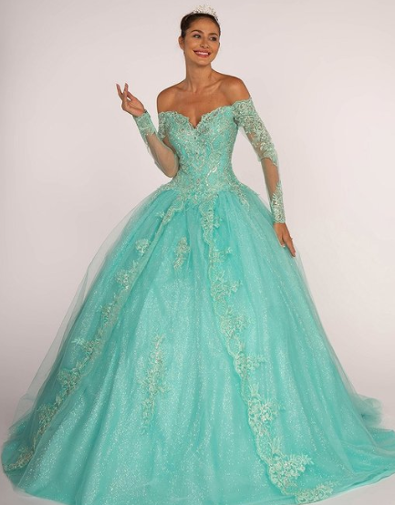 10655bc59ec Tiffany Blue Off the Shoulder Ball Gown Quinceanera Gown