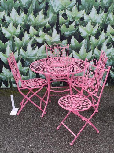 French Ornate Pink Wrought Iron Metal Garden Table And Chairs Bistro Furniture  Set , Http: