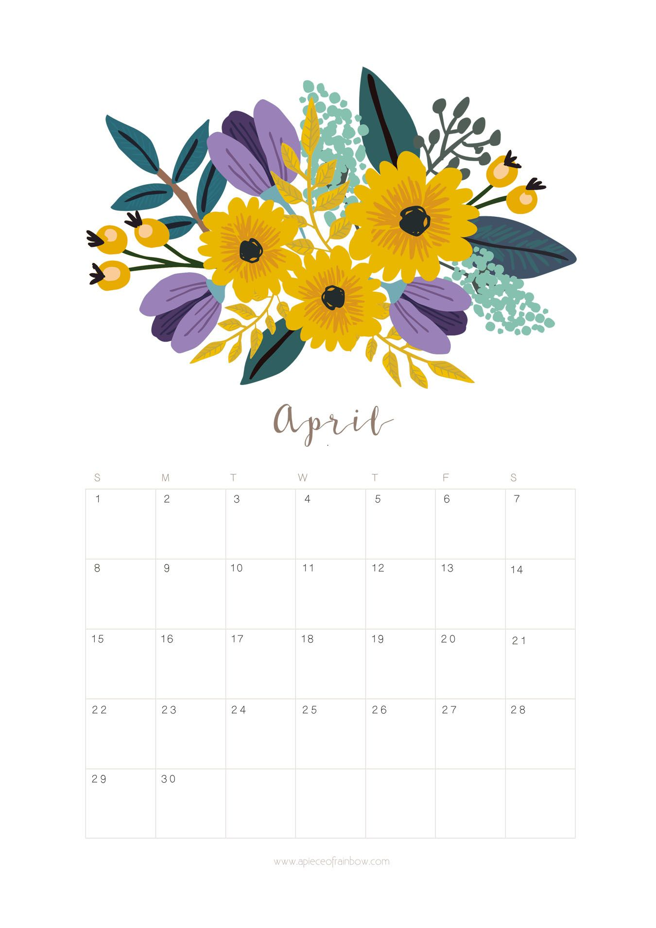 Calendar Flowers : Printable april calendar monthly planner flower