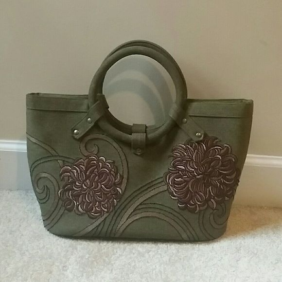 9c2aeb3d7a370c Purse Green with brown flowers D V Collection Bags | My Posh Picks ...