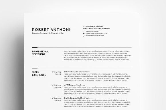Clean Resume/CV by Whitegraphic on @creativemarket Ready for Print
