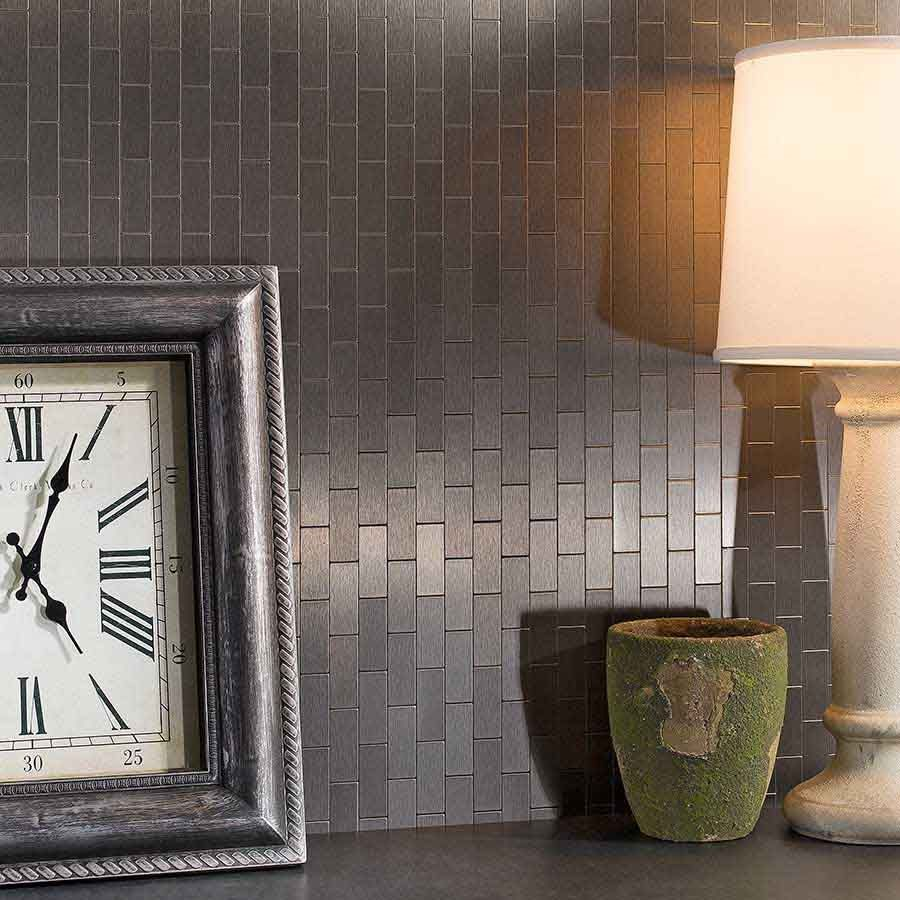 Aspect backsplashmini subwaystainlessmatted tile pinterest