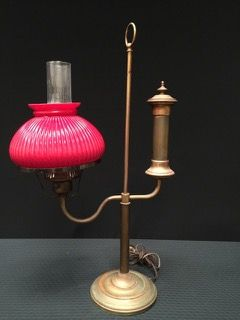 Vintage electric kerosene style student lamp in brass with ribbed vintage electric kerosene style student lamp in brass with ribbed red glass shade and clear chimney aloadofball Gallery