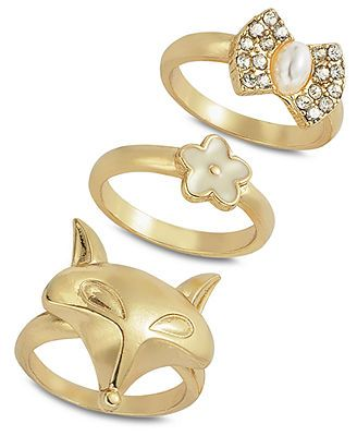 American Rag Ring Set, Gold-Tone Floral Fox Stackable Ring Set