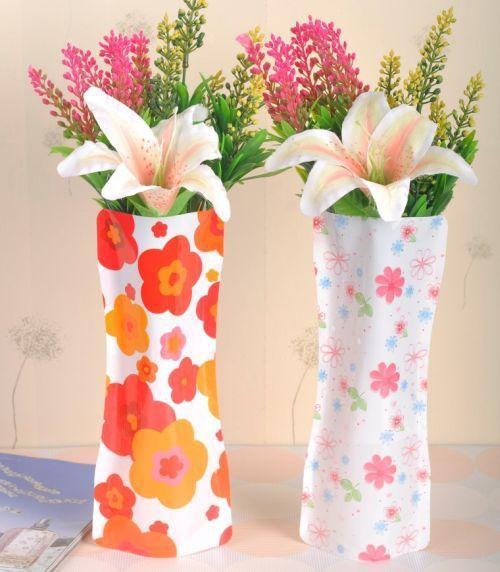 50pcslot Pvc Vase Mix Colors Patterns Small Folding Home Decoration