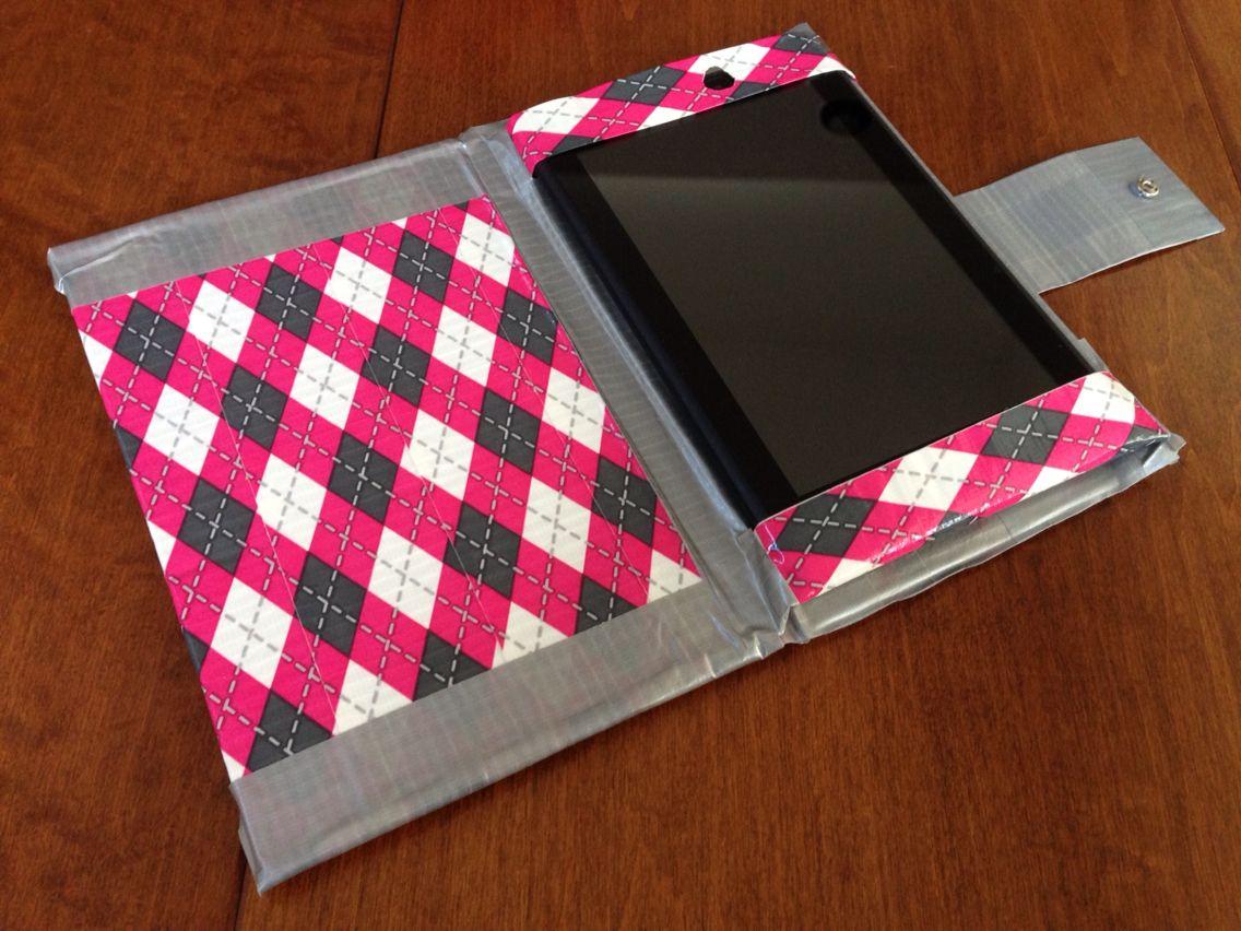 diy duct tape pink and grey tablet case duct tape stuff. Black Bedroom Furniture Sets. Home Design Ideas
