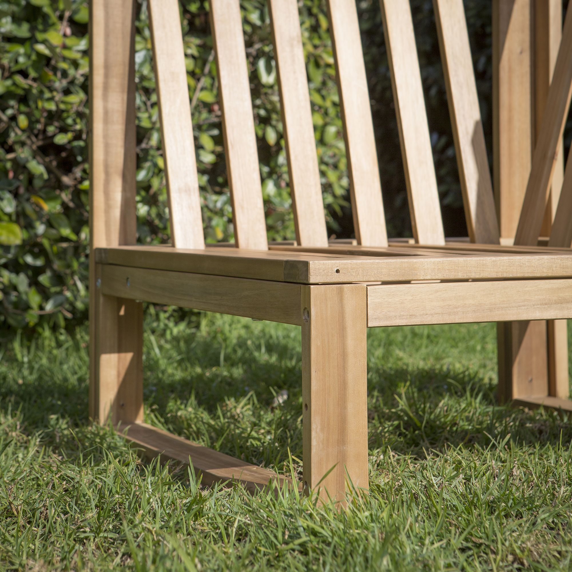 Canapé d\'angle de jardin 4 places + table basse Acacia MOVEA ...