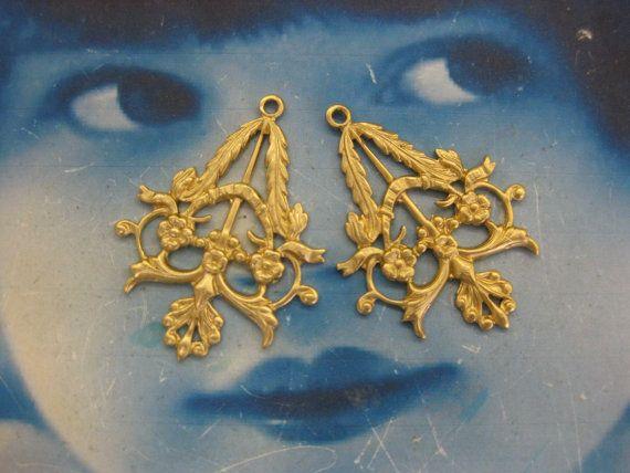 Natural Raw Floral Filigree Earring Drops by dimestoreemporium