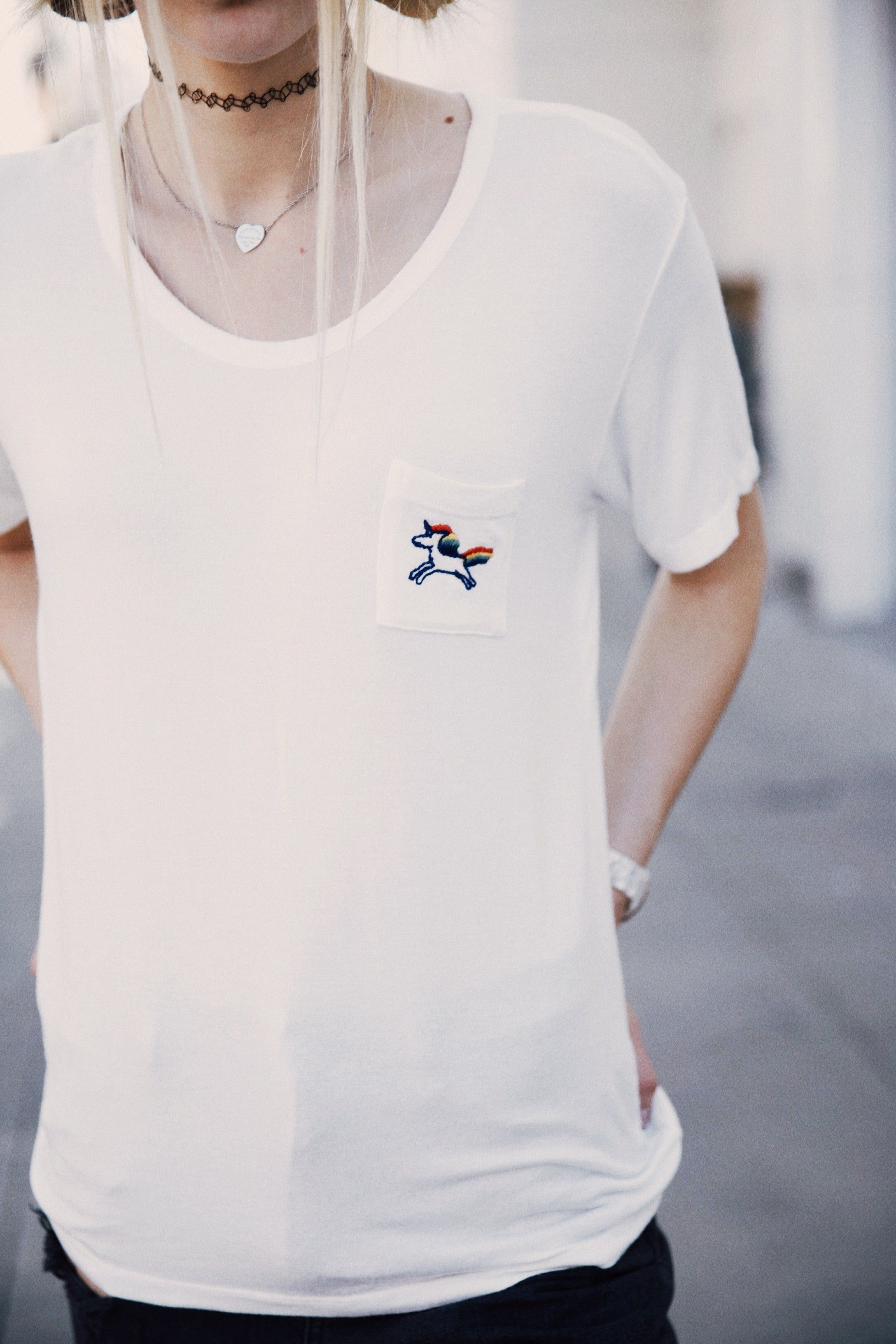 Brandy ♥ Melville | Quinn Rainbow Unicorn Embroidery Top - Graphics ...
