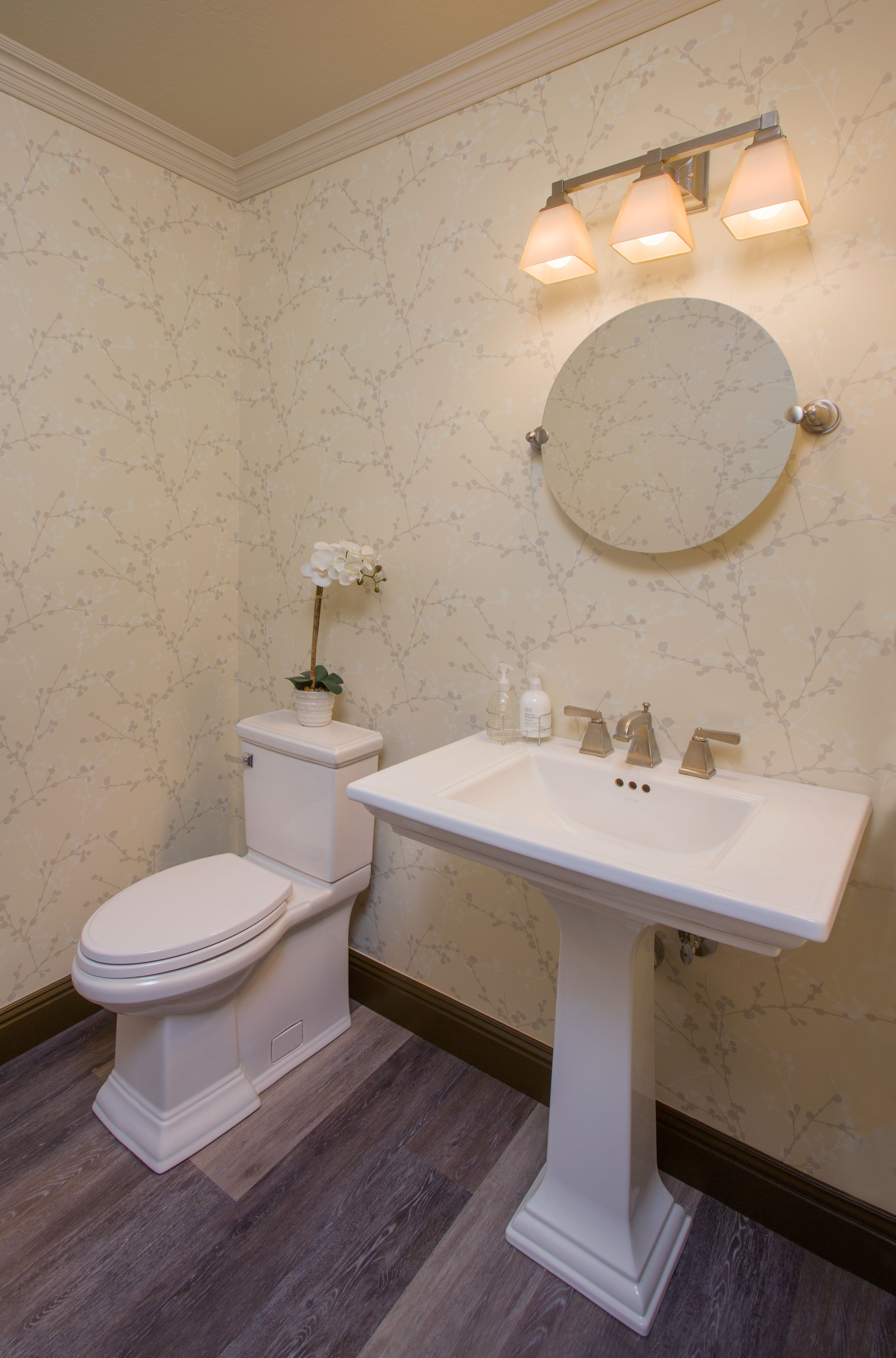 Transitional Powder Room Traditional Lines On Both The Pedestal