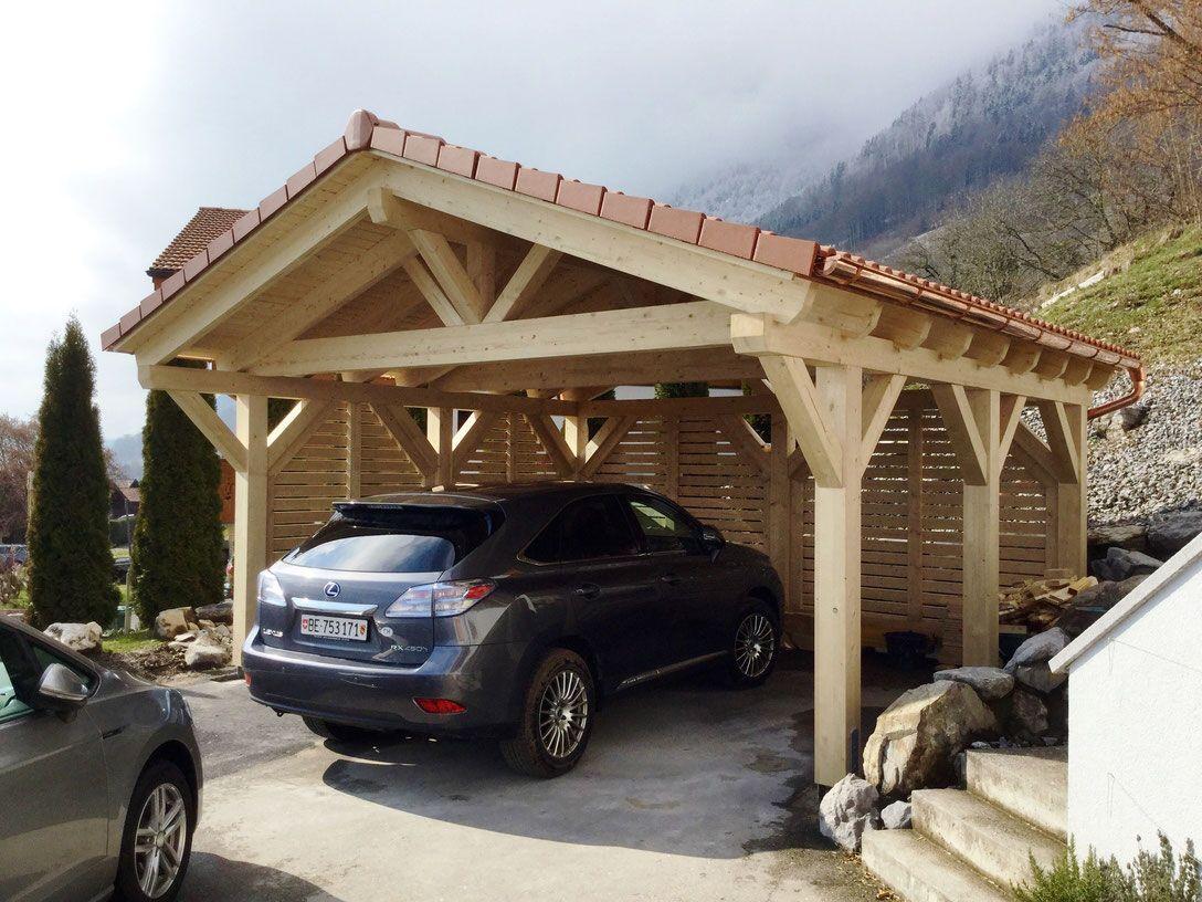 Erhöhte Schneelast Carport mit Satteldach Solarterrassen
