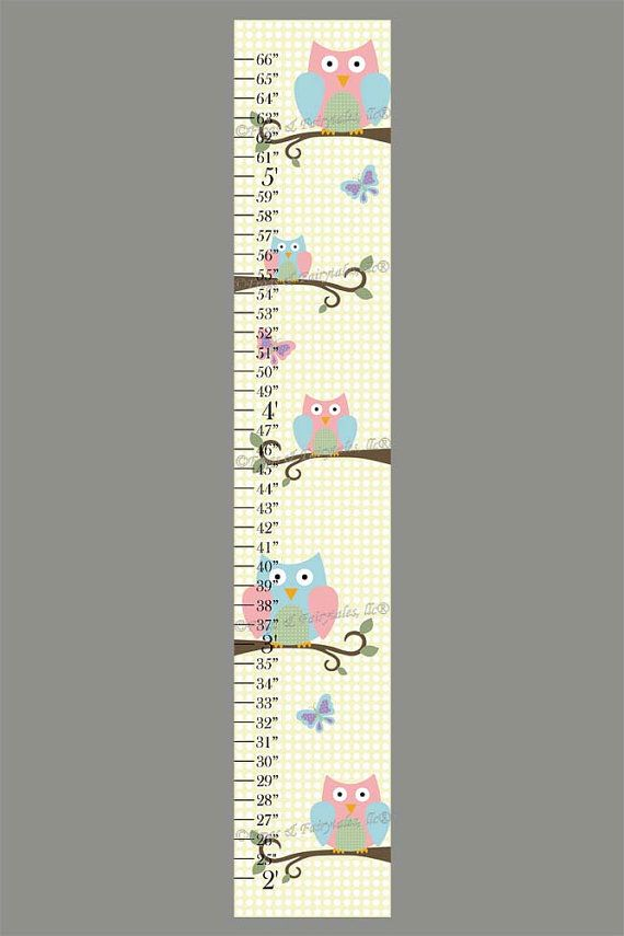Owls And Butterflies Polka Dot Print Canvas Growth Chart Ruler Decoracao Lembrancinhas