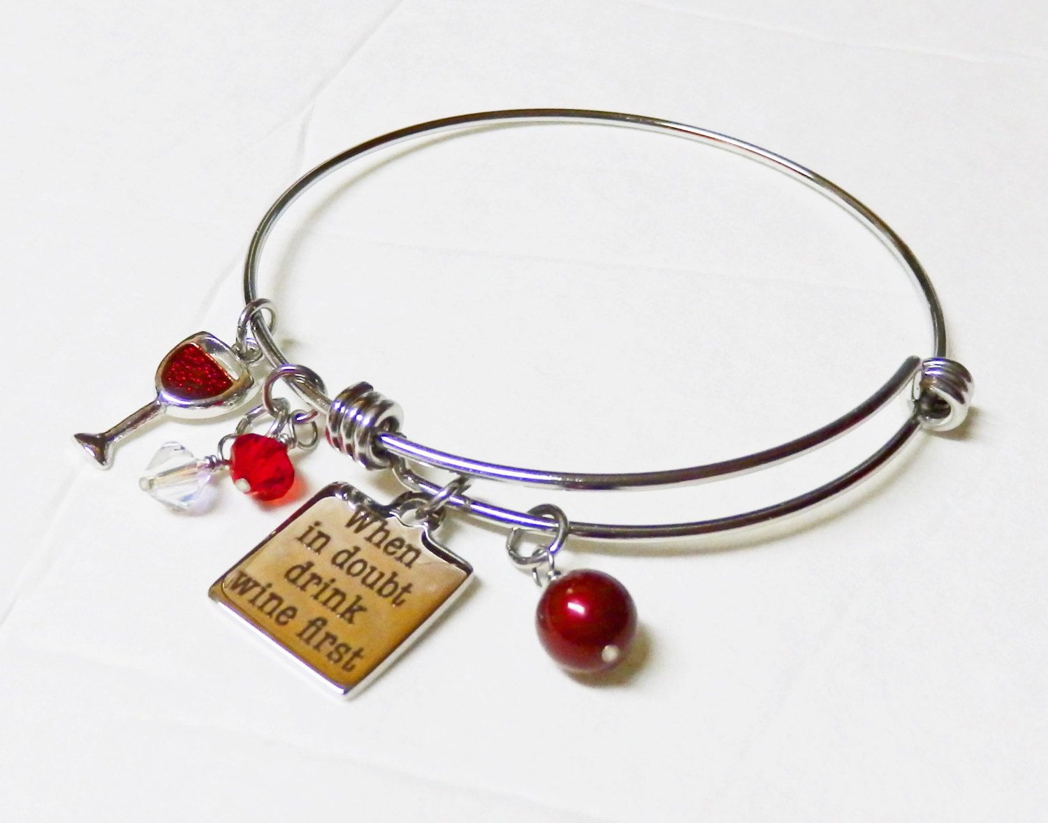 Stainless Steel Expandable Bangle Bracelet, Drink Wine First Charm ...