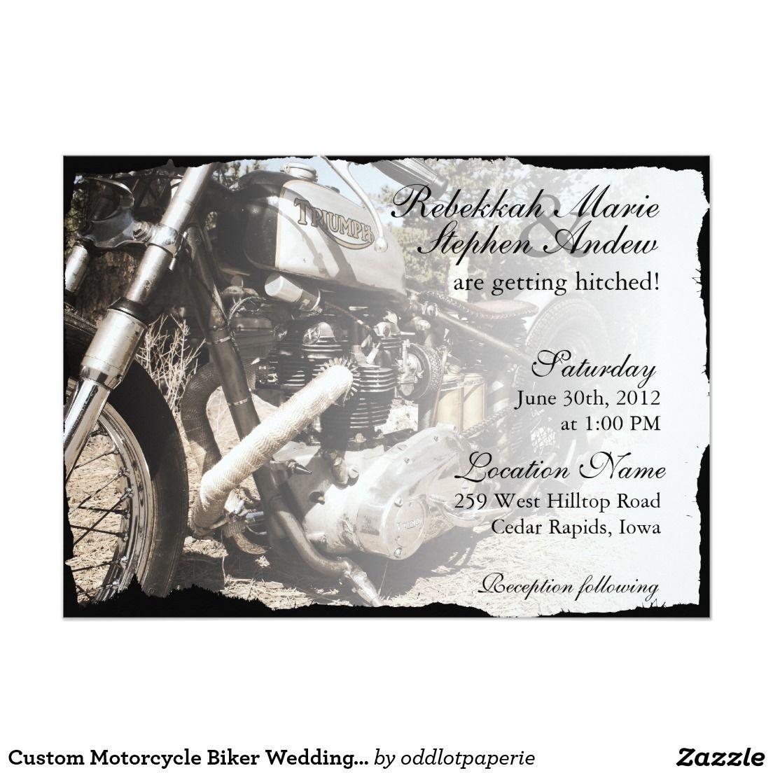Custom Motorcycle Biker Wedding Invitation   Custom motorcycles ...