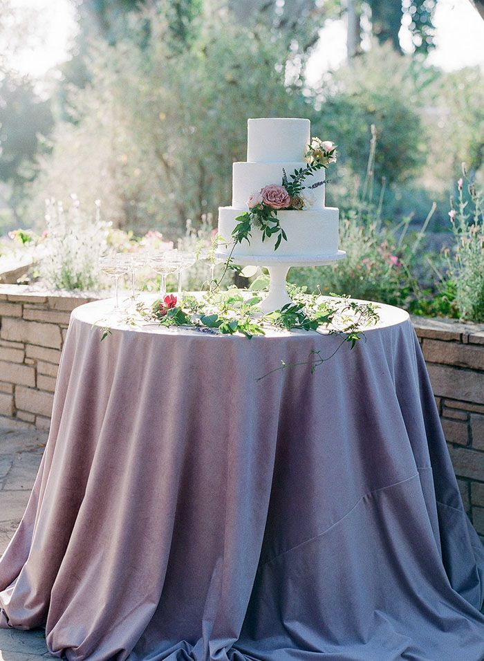 Purple Garden Wedding Cake Table | Samantha Kirk Photography | http://heyweddinglady.com/lavender-garden-wedding-shoot-carmel-valley/