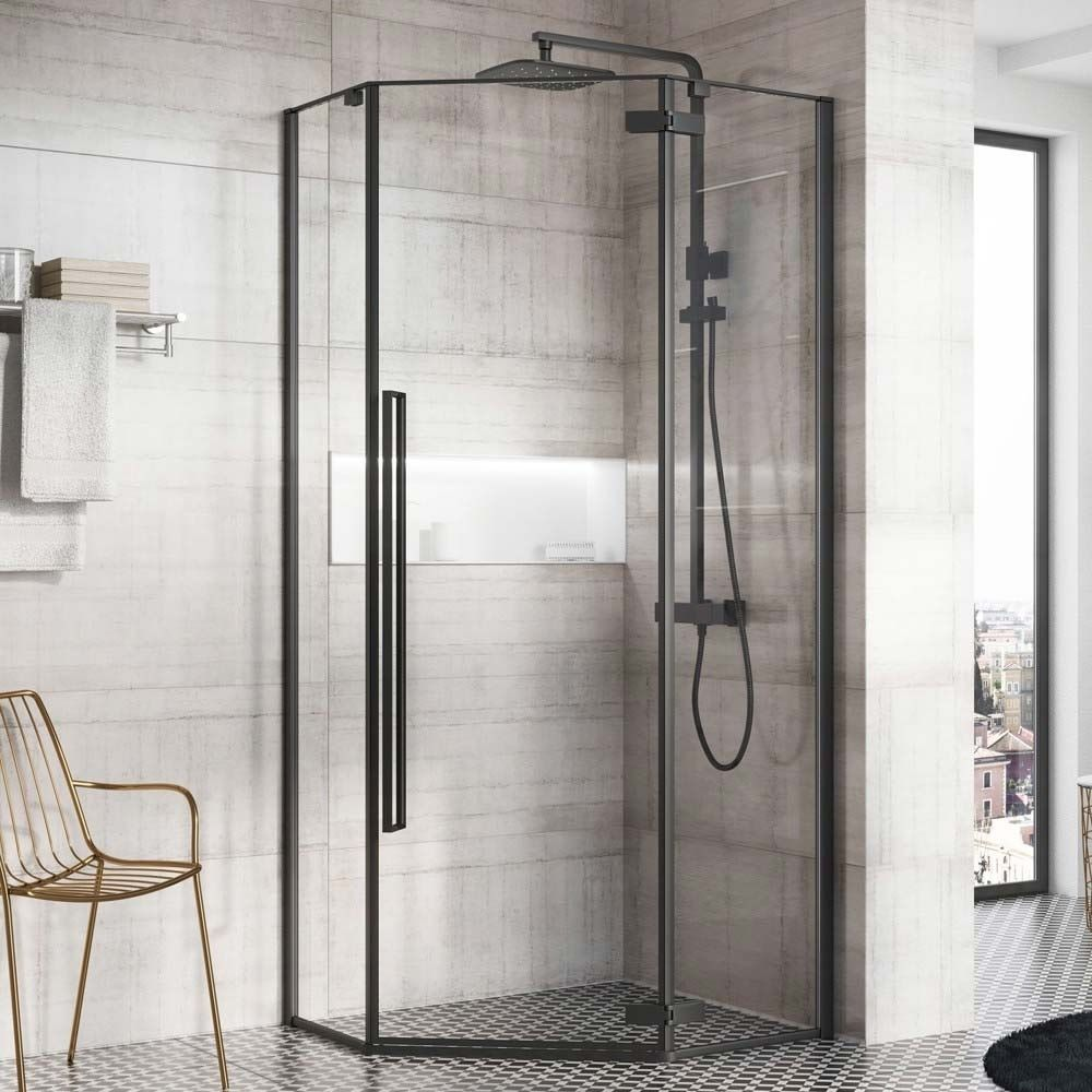 Harbour Icon Matt Black 8mm 2m Tall Easy Clean Pentagonal Pivot Shower Enclosure 900 X 900mm Shower Enclosure Sliding Shower Door Shower Doors