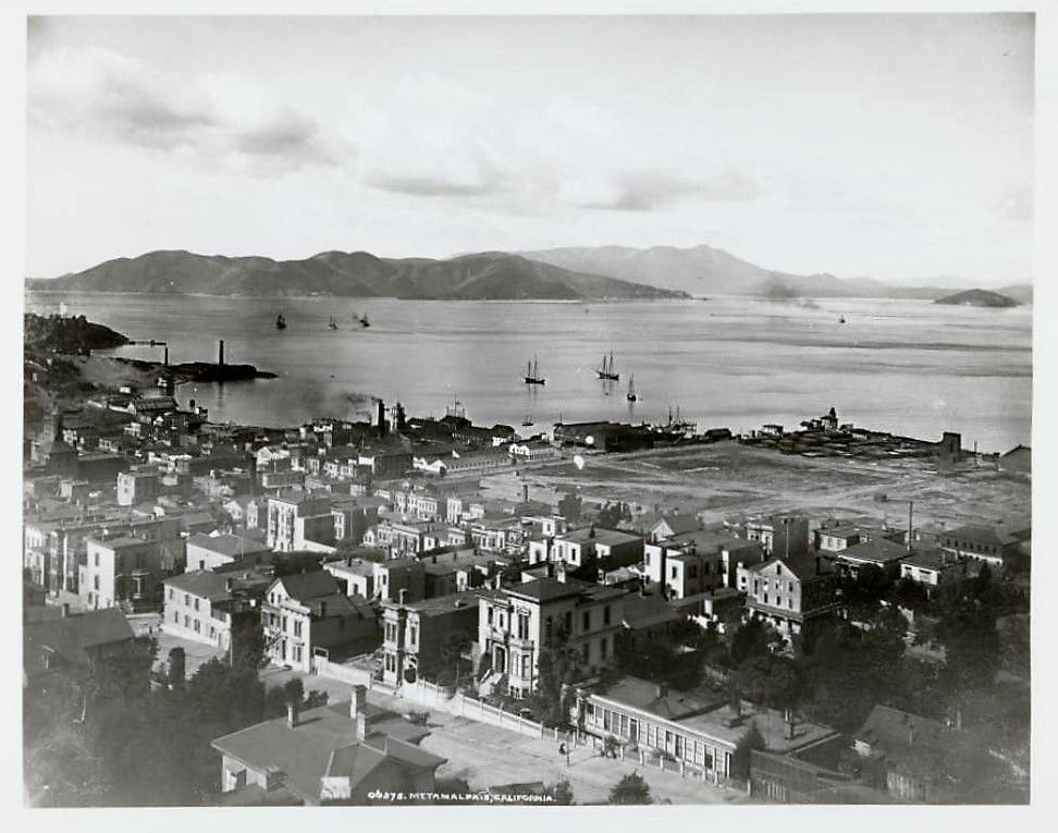 1890 - ships sail in the San Francisco Bay with Mt. Tamalpais in the distance