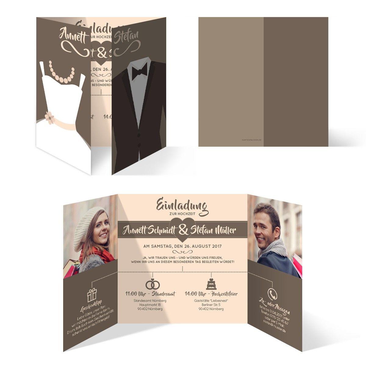 Lovely Hochzeits Einladungen #12: Hochzeitseinladungen - Braut Und Bräutigam Altarfalz In Braun